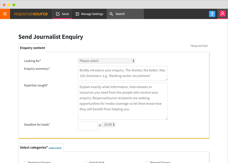 screenshot of journalist enquiry web form