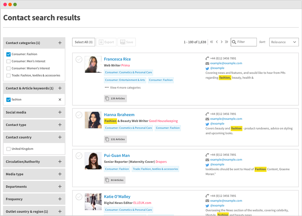 Desktop view of search results on media contacts database