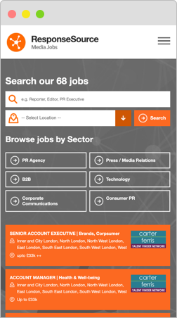 Search our media jobs by sector