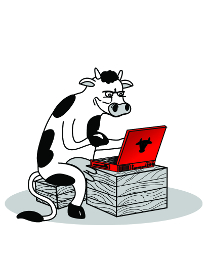 The complaining cow logo