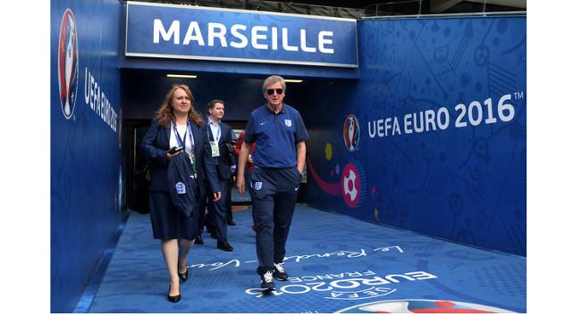Joanne Budd with England boss Roy Hodgson