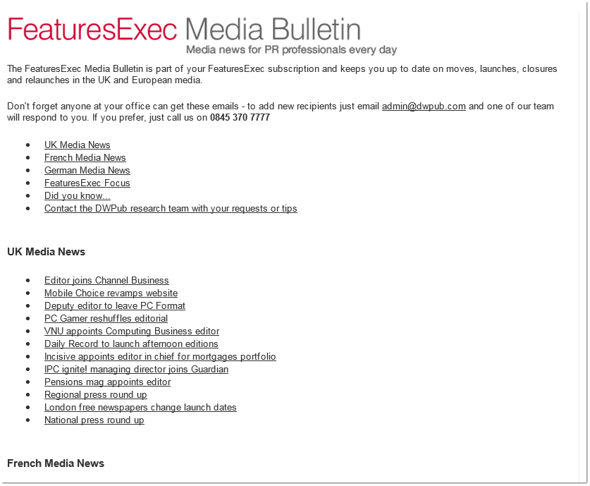 Media Bulletin adopts an HTML format, August 2006