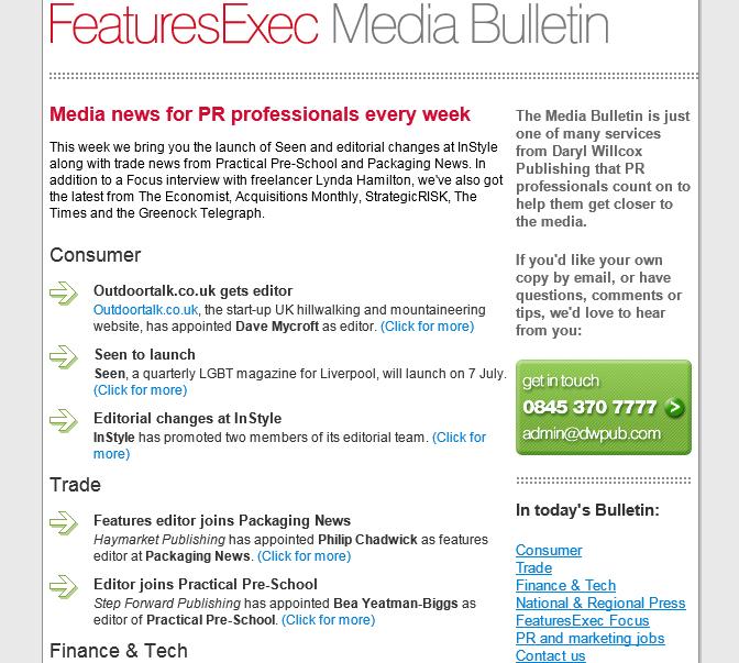 Media Bulletin, July 2010