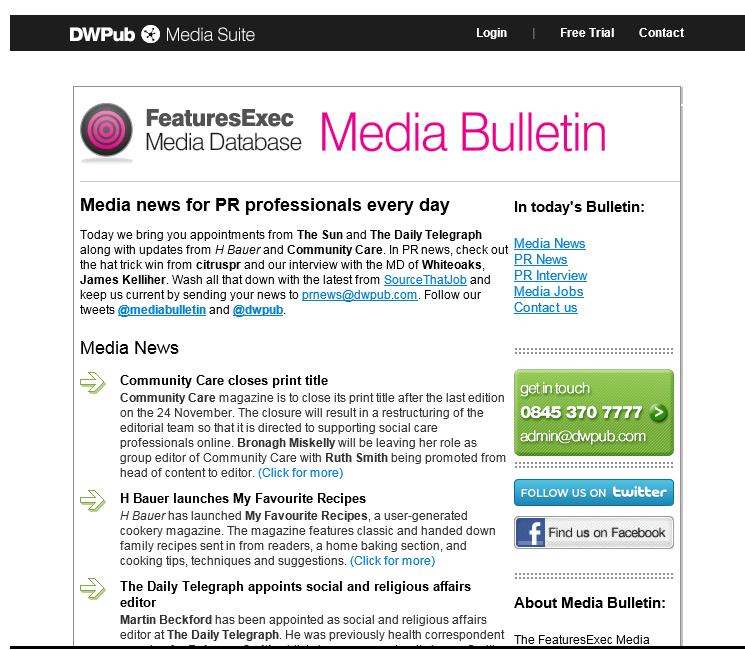 Media Bulletin, November 2011