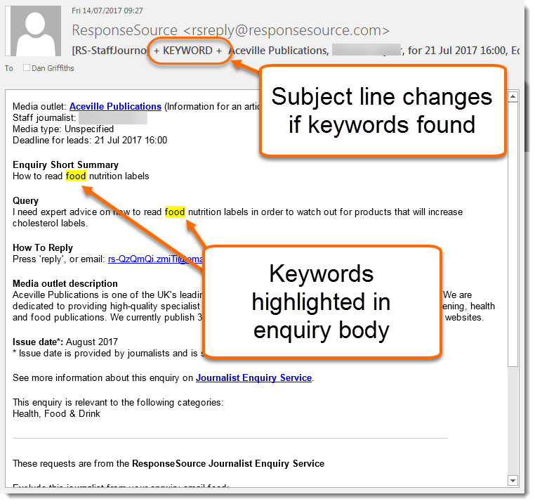 ResponseSource Journalist Enquiry Service keyword highlighting example from within an email message