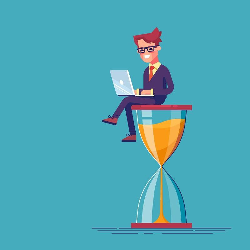 Worker sat on hourglass