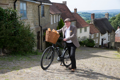 Hovis boy with e-bike on Gold Hill - Press Release Wire