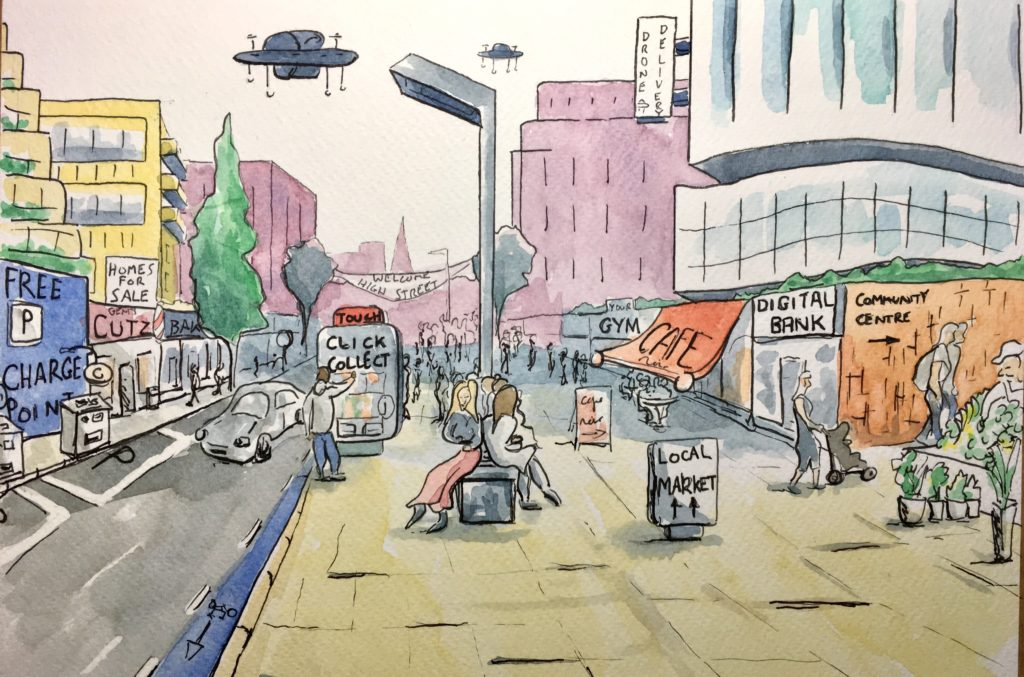 Cartoon image of the High Street of the future, with gym, click and collect, hairdresser, cafe, electric car charging points